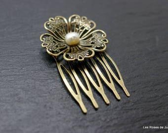 Hair comb art deco flower comb