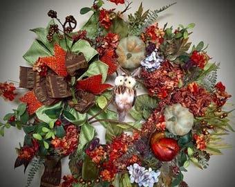 Christmas in July Sale Fall Owl Wreath, Burnt Orange Floral Wreath, Owl Wreath, Grapevine Owl Wreath, Pumpkins and Gourds Wreath, Burnt Oran
