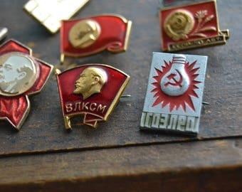 8 Soviet propaganda pins, Lenin, СССР pin, Komsomol pin, Russian propaganda, Russian revolution, made in USSR, Vintage Suit Making Supplies