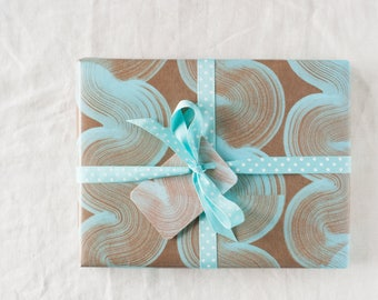 Elegant curves, sophisticated, geometric wrapping paper for stylish gifts, unisex hand painted gift wrap, duck egg blue and brown craft look