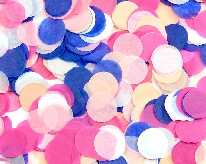 Macaroon Confetti, Navy Pink Peach Confetti, Shred, Table Decor, Confetti Balloon, First Birthday, Bachelorette, Baby Shower, Wedding