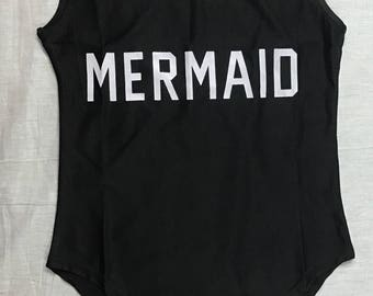 Womens One Piece MERMAID Bodysuit  Swim Wear as bathing suit Words Letters BLACK Summer Beach Body Suit Pool party Outfit Onesie Back Out