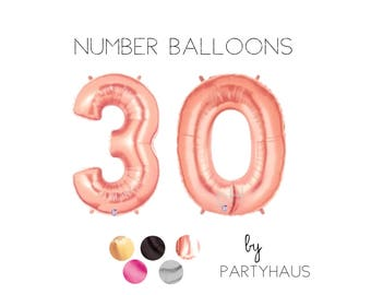 "Rose Gold Number 30 Balloons, 40"", Gold, Number Balloons, Milestone, Gold, Numbers, 30th Birthday Balloons, Number, 30, 30th, Hashtag Copper"