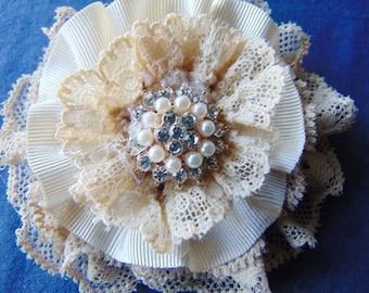 Flower rhinestone jewel and lace