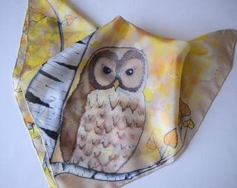 Owl scarf, birch tree and owl bandana, yellow birch scarf