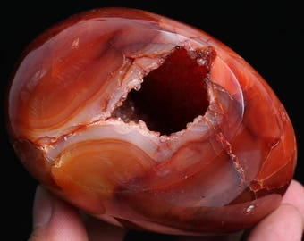 Natural Red Carnelian Geode Crystal Quartz Agate Polished Specimen J546