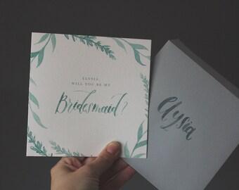"Custom Beachy Bridesmaid Card - 6""x6"""