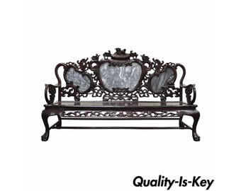 Vintage Oriental Chinese Japanese Dragon Carved Mahogany & Marble Back Parlor Sofa Couch Bench