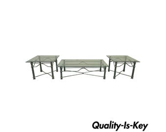 Vintage Modern Brutalist Patinated Iron & Glass Coffee Table Pair End Tables Set