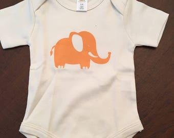 Elephant Organic Cotton Baby Clothes Custom Screen Printed Onesie 3-6mo