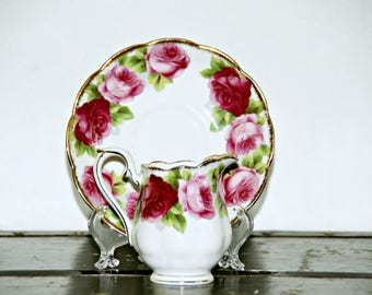 Royal Albert, Old English Rose, Hampton, Creamer and Saucer, Pink Floral, 1950s, Made in England, Staffordshire, Cottage Chic, Garden Party
