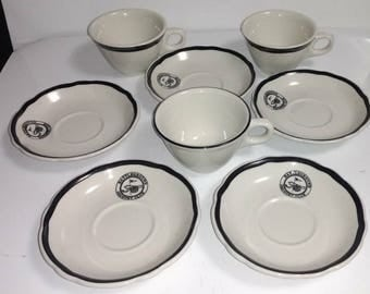 Vintage 1960s Jackson China Battleground Country Club NJ  Restaurant Ware Includes 5 Saucers and 3 Cups