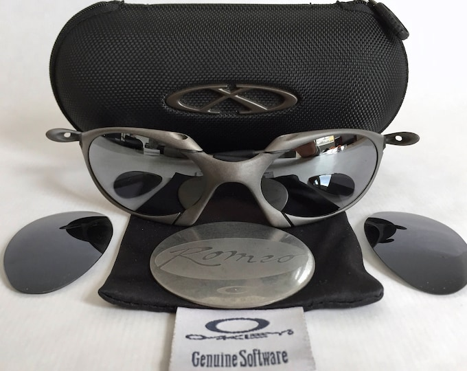 Oakley X Metal Romeo 1 Vintage Sunglasses New Old Stock including Coin, Vault and Spare Lenses