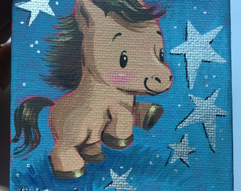Miniature Painting Blue Pony