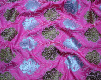 Pink Silk Brocade Fabric Banarasi Silk Brocade Fabric by the Yard, Banaras Brocade Art Silk for Wedding Dress, Indian Silk