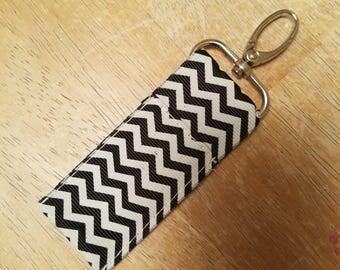 Black Chevron Keychain Chapstick Holder