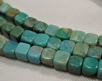 "Genuine Natural American Mined TURQUOISE Square 4mm x 4mm Beads Full 16"" Starnd"