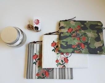 Floral linen clutch