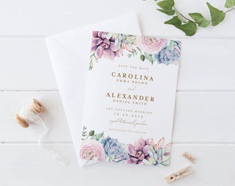 Printable Save The Date Wedding Card, Succulents Save The Date Wedding Card