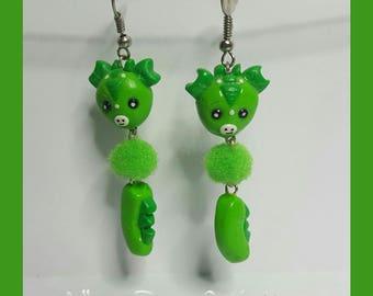 """Earrings in polymer clay """"Little green dragon"""""""