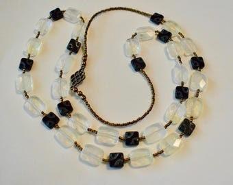 Lemon Quartz and Czech Glass Beaded Necklace