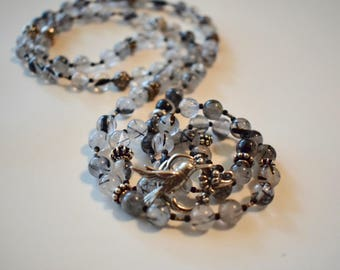Rutilated Quartz with Sterling Silver Beads and Bird Toggle Clasp
