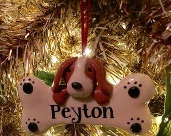 Pet ornament clay dough dog ornament - dog holding bone Christmas ornament