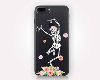 Dancing Skeleton Clear Phone Case - Clear Case - For iPhone 8, 8 Plus, X, iPhone 7 Plus, 7, SE, 5, 6S Plus, 6S,6 Plus, Samsung S8,S8 Plus,