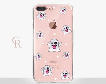 Ghost Halloween Clear Phone Case - Clear Case - For iPhone 8, 8 Plus, X, iPhone 7 Plus, 7, SE, 5, 6S Plus, 6S,6 Plus, Samsung S8,S8 Plus,