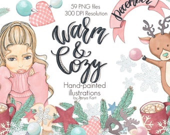 Winter Clipart, Warm and Cozy Clipart, Christmas Clipart, December Clipart, Snowflake Clipart, Cute Clipart, Winter Girls, Christmas Tree