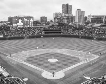 B&W Chicago Cubs Wall Art, Wrigley Field, Cubs, Cubs Fan Gift, Wrigleyville, MLB, Available as Photo Print, Ready to Hang Canvas or Frame
