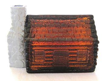 Vintage Amber Glass Cologne Bottle Log Cabin Avon Man Cave Decor