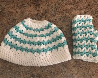 Crochet Messy Bun Ponytail Hat and Fingerless Gloves