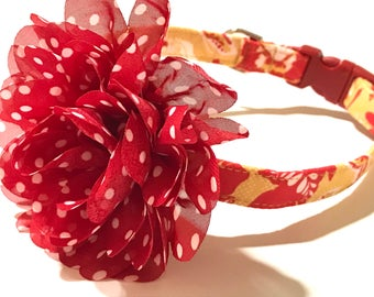 Crimson Dog Collar - Girl Dog Collar with Flower - Girl Dog Collar - Dog Collar for Girls