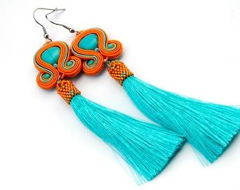 Orange turquoise dangle soutache earrings, elegant long tassel earrings, statement blue gemstone earrings, everyday earrings, boho earrings