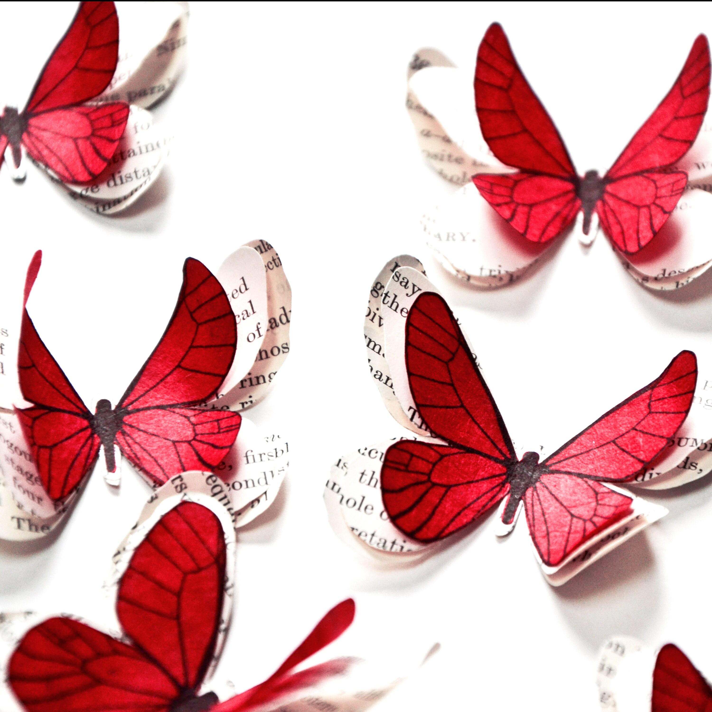 50 papillons rouges papillons en papier d coration mariage. Black Bedroom Furniture Sets. Home Design Ideas