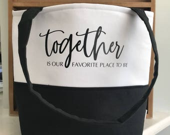 Tote Bag - School Bag - Gift for Her - Gifts for Women - Teacher Gift - New Home Gift - Together is our Favorite Place to Be - Custom Tote