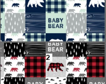 Patchwork Baby Blanket / Baby Bear Blanket / Minky Blanket / Baby Boy Gift /  Baby Shower Gift / Buffalo Check Blanket / Woodland Animals