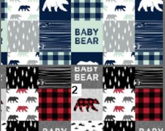 Patchwork Baby Blanket / Baby Bear Blanket / Minky Blanket / Baby Boy Gift /  Baby Shower Gift / Buffalo Check Blanket / Woodland Animals