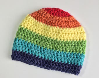 Rainbow Baby Hat, Ready to Ship, Crochet Hat Baby, Baby Boy Hat, Crochet Rainbow Baby, Rainbow Baby, Boy Hat, Rainbow