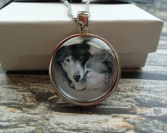 Wolves - Silver Round Glass Domed Keychain or Necklace - Two Wolves, Pair, Hunters