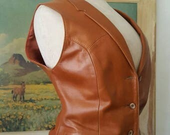 SUMMER SALE Remy Leather Co. Made in USA Softest Leather Western Wear Cowgirl Rodeo Southwest Style Vest Size S/M