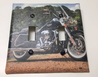 Recycled Harley Davidson motorcycle,DOUBLE LIGHT cover, switch plate, outlet cover, outlet plate, home decor, wall art, man cave,boy teen