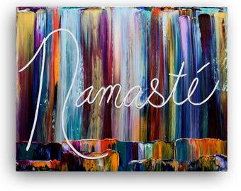Namaste Wall Art Original Paintings Decor, art, Painting on canvas, Zen Art decor, Namaste,quotes, artwork, art, gifts,by Katey