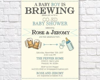 BABY SHOWER Invitation - A baby boy is brewing - Co-ed baby shower - baby boy shower - baby is brewing  shower- baby boy shower invitation