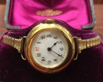 Antique 18K Yellow Gold Fine and Important Swiss Ladies' Watch in original box. Retailed by W. Farmer & Co of Sydney.