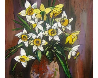 tableau of a bouquet of flowers, yellow daffodils