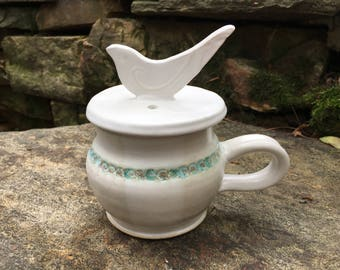 Pottery Microwave Egg Cooker, Egg Poacher, Stoneware, White and Turquoise, Bird Lid