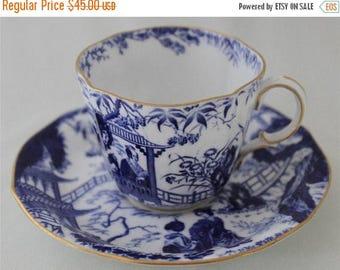 50% SALE 1947 Royal Crown Derby Cup Saucer Blue Mikado Anniversary Wedding Mothers Day Gift Wedding Anniversary Birthday