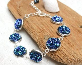 FREE SHIPPING! Sparkly blue druzy style bracelet that shimmers and glimmers. Glam. Perfect gift for her. Made in Ireland